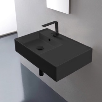 Bathroom Sink Matte Black Ceramic Wall Mounted or Vessel Sink With Counter Space Scarabeo 5114-49