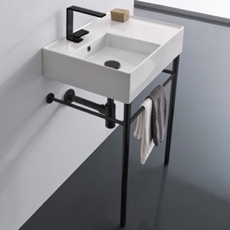 Bathroom Sink Ceramic Console Sink and Matte Black Stand Scarabeo 5114-CON-BLK