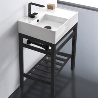 Bathroom Sink Modern Ceramic Console Sink With Counter Space and Matte Black Base Scarabeo 5114-CON2-BLK