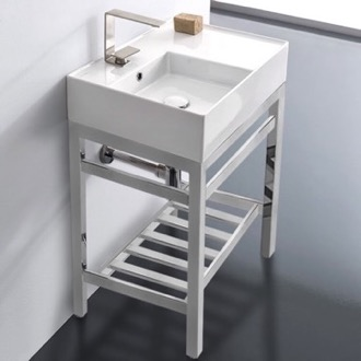 Bathroom Sink Modern Ceramic Console Sink With Counter Space and Chrome Base Scarabeo 5114-CON2