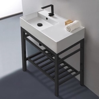 Bathroom Sink Modern Ceramic Console Sink With Counter Space and Matte Black Base Scarabeo 5115-CON2-BLK