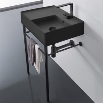 Bathroom Sink Matte Black Ceramic Console Sink and Matte Black Stand Scarabeo 5117-49-CON-BLK