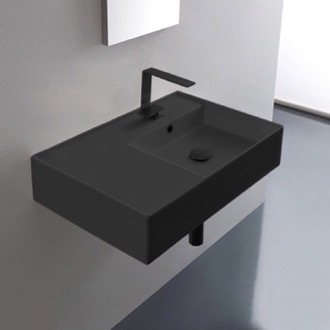 Bathroom Sink Matte Black Ceramic Wall Mounted or Vessel Sink With Counter Space Scarabeo 5117-49
