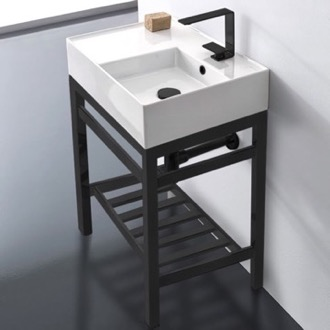 Bathroom Sink Modern Ceramic Console Sink With Counter Space and Matte Black Base Scarabeo 5117-CON2-BLK