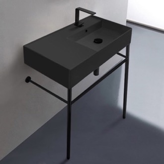 Bathroom Sink Matte Black Ceramic Console Sink and Matte Black Stand Scarabeo 5118-49-CON-BLK
