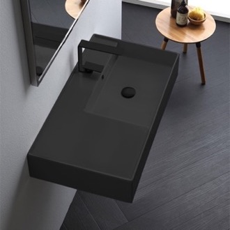Bathroom Sink Matte Black Ceramic Wall Mounted or Vessel Sink With Counter Space Scarabeo 5118-49