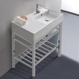 Bathroom Sink Modern Ceramic Console Sink With Counter Space and Chrome Base Scarabeo 5118-CON2