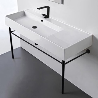 Bathroom Sink Ceramic Console Sink and Matte Black Stand Scarabeo 5121-CON-BLK