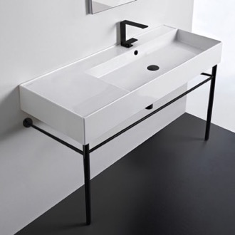 Bathroom Sink Ceramic Console Sink and Matte Black Stand Scarabeo 5122-CON-BLK
