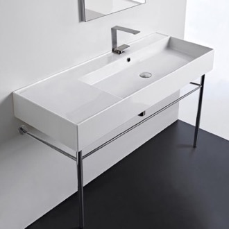 Bathroom Sink Rectangular Ceramic Console Sink and Polished Chrome Stand Scarabeo 5122-CON