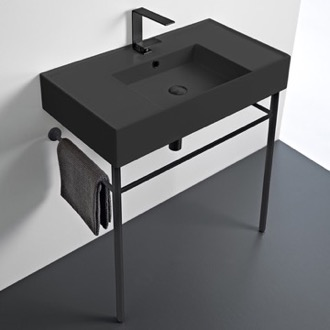 Bathroom Sink Matte Black Ceramic Console Sink and Matte Black Stand Scarabeo 5123-49-CON-BLK