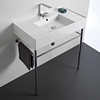 Bathroom Sink Rectangular Ceramic Console Sink and Polished Chrome Stand Scarabeo 5123-CON