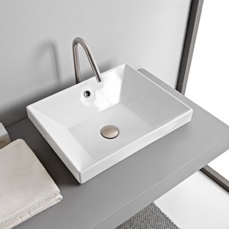 Bathroom Sink Rectangular White Ceramic Drop In Sink Scarabeo 5130