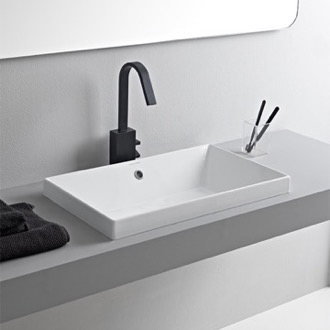 Bathroom Sink Rectangular White Ceramic Drop In Sink Scarabeo 5131