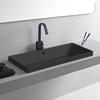 Bathroom Sink Rectangular Matte Black Ceramic Trough Drop In Sink Scarabeo 5132-49