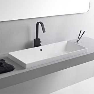 Bathroom Sink Rectangular White Ceramic Trough Drop In Sink Scarabeo 5132