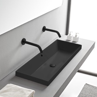 Bathroom Sink Rectangular Matte Black Ceramic Trough Drop In Sink Scarabeo 5133-49