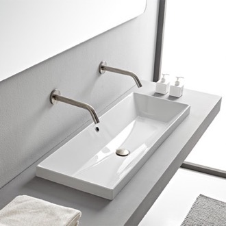 Bathroom Sink Rectangular White Ceramic Trough Drop In Sink Scarabeo 5133
