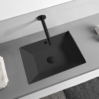 Bathroom Sink Rectangular Matte Black Ceramic Undermount Sink Scarabeo 5134-49