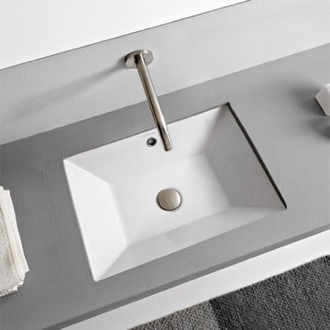 Bathroom Sink Rectangular White Ceramic Undermount Sink Scarabeo 5134