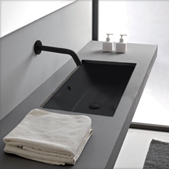 Bathroom Sink Rectangular Matte Black Ceramic Undermount Sink Scarabeo 5135-49