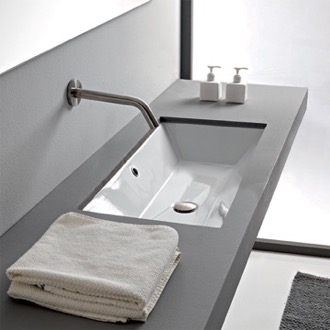 Bathroom Sink Rectangular White Ceramic Undermount Sink Scarabeo 5135