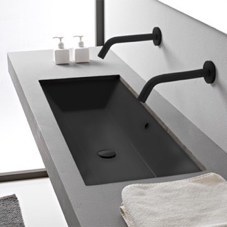 Bathroom Sink Rectangular Matte Black Ceramic Trough Undermount Sink Scarabeo 5136-49
