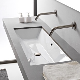 Bathroom Sink Rectangular White Ceramic Trough Undermount Sink Scarabeo 5136