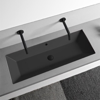 Bathroom Sink Rectangular Matte Black Ceramic Trough Undermount Sink Scarabeo 5137-49