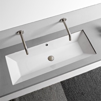 Bathroom Sink Rectangular White Ceramic Trough Undermount Sink Scarabeo 5137