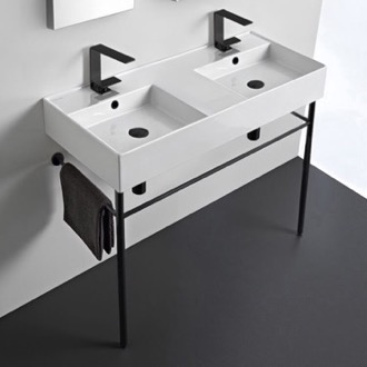 Bathroom Sink Double Ceramic Wall Mounted Sink With Matte Black Stand Scarabeo 5142-CON-BLK