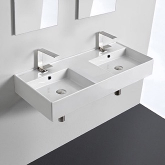 Bathroom Sink Double Rectangular Ceramic Wall Mounted or Vessel Sink With Counter Space Scarabeo 5142