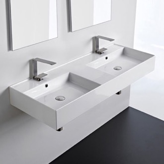 Bathroom Sink Double Rectangular Ceramic Wall Mounted or Vessel Sink With Counter Space Scarabeo 5143