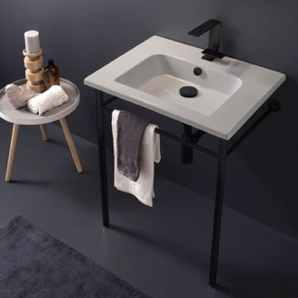 Bathroom Sink Ceramic Console Sink and Matte Black Stand Scarabeo 5210-CON-BLK
