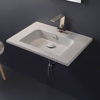 Bathroom Sink Sleek Rectangular Ceramic Wall Mounted Sink Scarabeo 5210