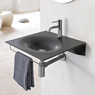 Bathroom Sink Ultra Thin Matte Black Ceramic Wall Mounted Sink With Chrome Towel Bar Scarabeo 6101-49-TB