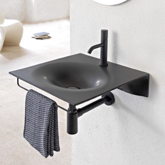 Bathroom Sink Ultra Thin Matte Black Ceramic Wall Mounted Sink With Black Towel Bar Scarabeo 6101-49-TB/BLK