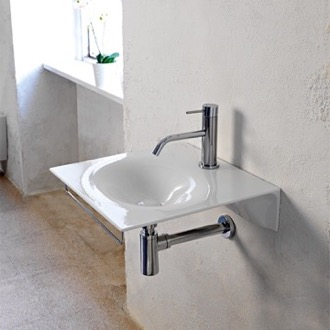 Bathroom Sink Ultra Thin White Ceramic Wall Mounted Sink With Chrome Towel Bar Scarabeo 6101-TB