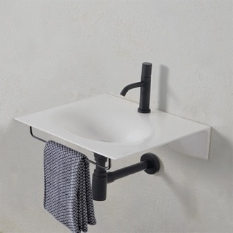 Bathroom Sink Ultra Thin White Ceramic Wall Mounted Sink With Black Towel Bar Scarabeo 6101-TB/BLK