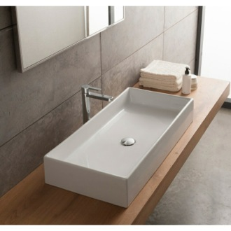 Bathroom Sink Rectangular White Ceramic Vessel Sink Scarabeo 8031/80