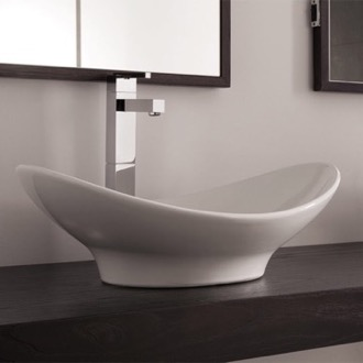 Bathroom Sink Oval-Shaped White Ceramic Vessel Sink Scarabeo 8207