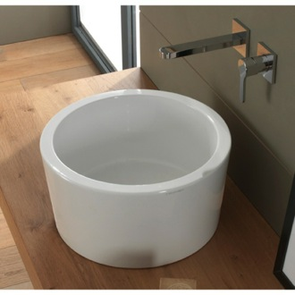 Bathroom Sink Round White Ceramic Vessel Sink Scarabeo 8808