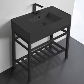 Bathroom Sink Modern Matte Black Ceramic Console Sink and Matte Black Base Scarabeo 5123-49-CON2-BLK