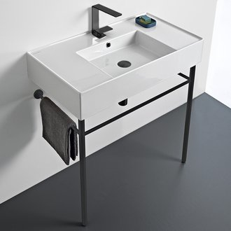 Bathroom Sink Ceramic Console Sink and Matte Black Stand Scarabeo 5123-CON-BLK