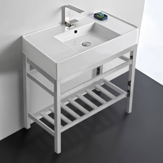 Bathroom Sink Modern Ceramic Console Sink With Counter Space and Chrome Base Scarabeo 5123-CON2