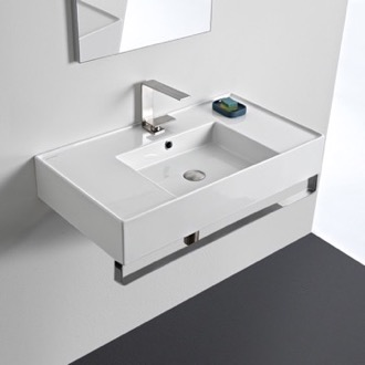 Bathroom Sink Rectangular Ceramic Wall Mounted Sink With Counter Space, Includes Towel Bar Scarabeo 5123-TB