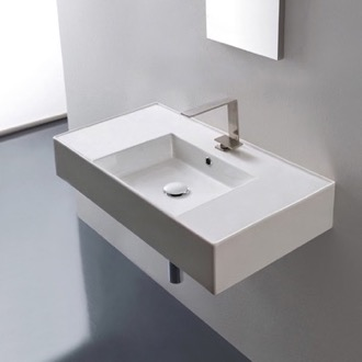 Bathroom Sink Rectangular Ceramic Wall Mounted or Vessel Sink With Counter Space Scarabeo 5123