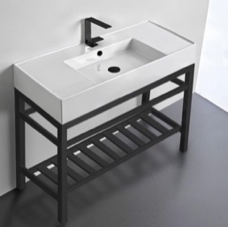 Bathroom Sink Modern Ceramic Console Sink With Counter Space and Matte Black Base Scarabeo 5124-CON2-BLK