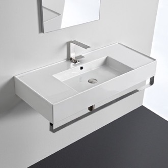 Bathroom Sink Rectangular Ceramic Wall Mounted Sink With Counter Space, Includes Towel Bar Scarabeo 5124-TB
