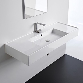 Bathroom Sink Rectangular Ceramic Wall Mounted or Vessel Sink With Counter Space Scarabeo 5125